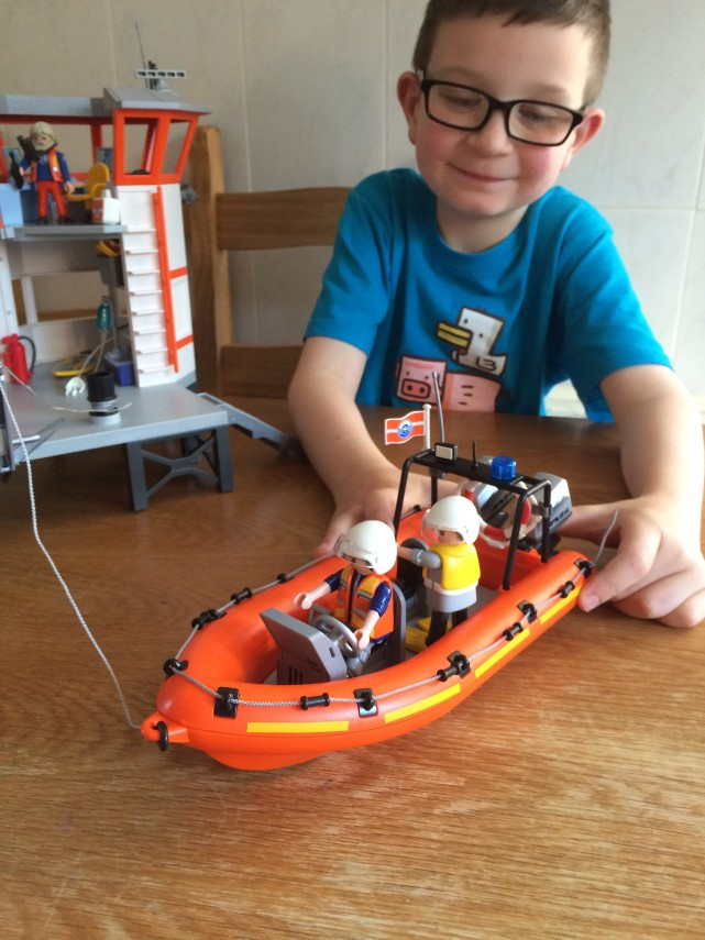 laying Playmobil Coastguard Station