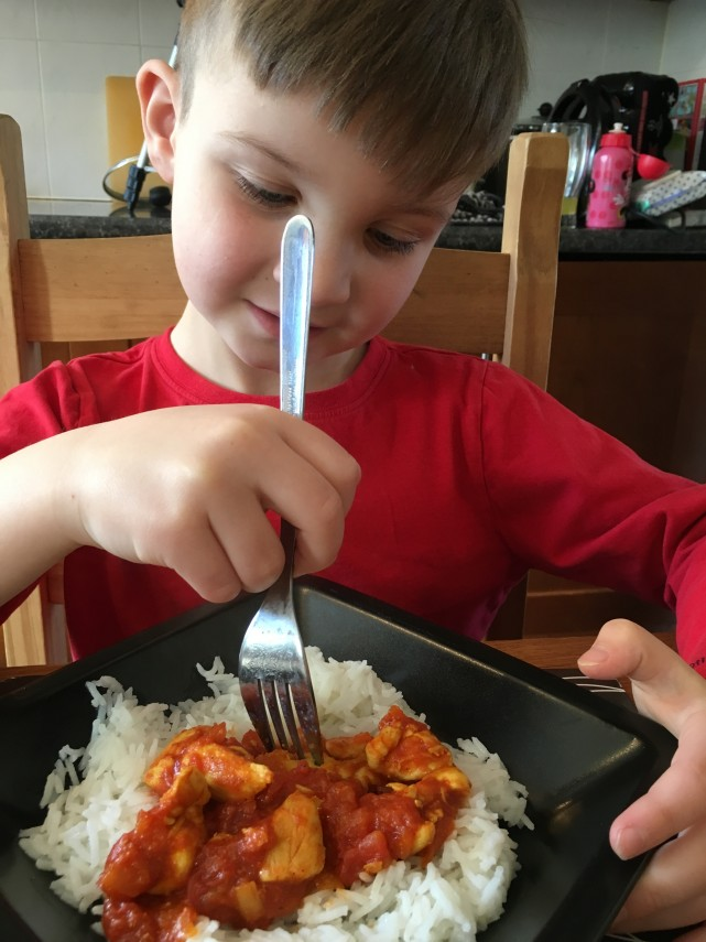 Eating Chicken Madras