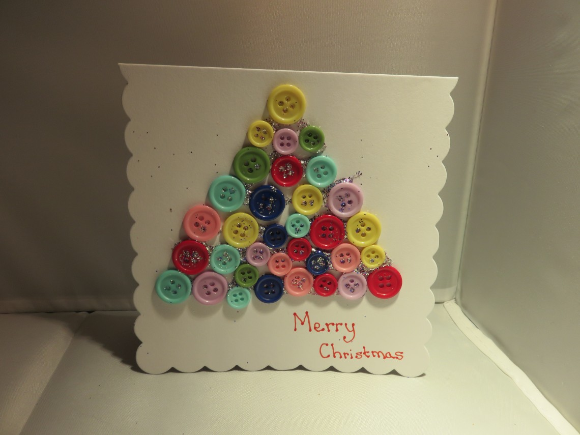 Kids Button Christmas Tree Card