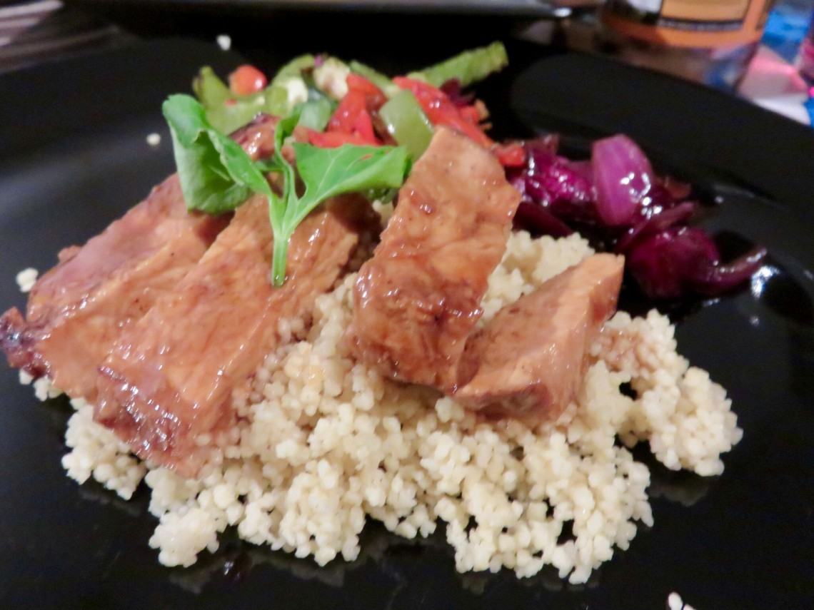 Soy and Orange Glazed Pork with Mediterranean Veggies and Couscous