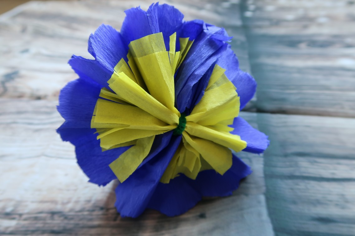 Yellow and Blue Tissue Paper Flower