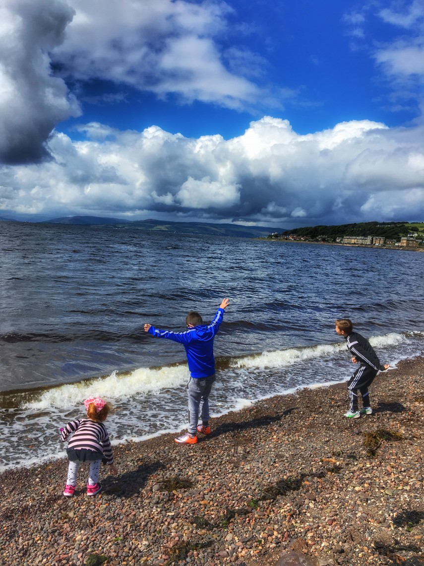 Largs Beach Stone Skimming